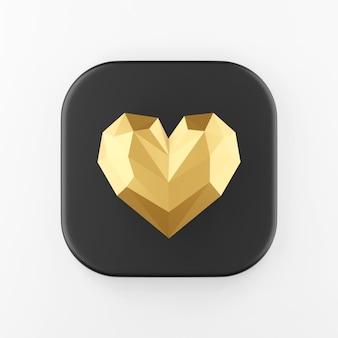 Ícone de coração ouro baixo poli. botão chave quadrado preto de renderização 3d, elemento interface ui ux.