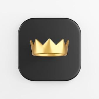 Ícone de coroa dourada. renderização 3d do botão de chave quadrado preto, elemento interface ui ux.