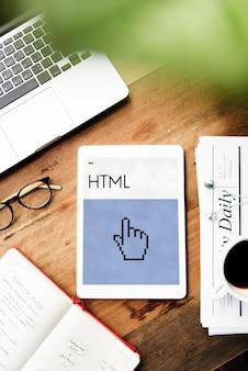 Ícone de cursor de mão de programação de web design