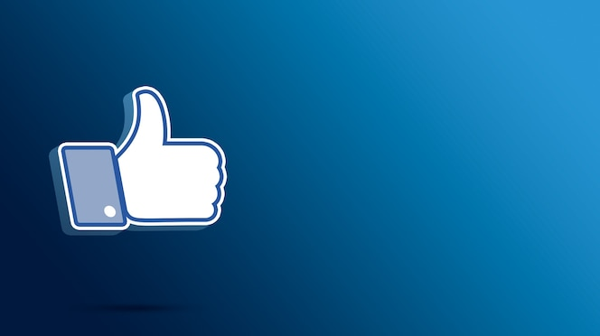 Ícone de curtir do facebook, polegar para cima 3d