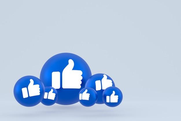 Ícone de curtir emoji de reações do facebook render, símbolo de balão de mídia social em fundo cinza