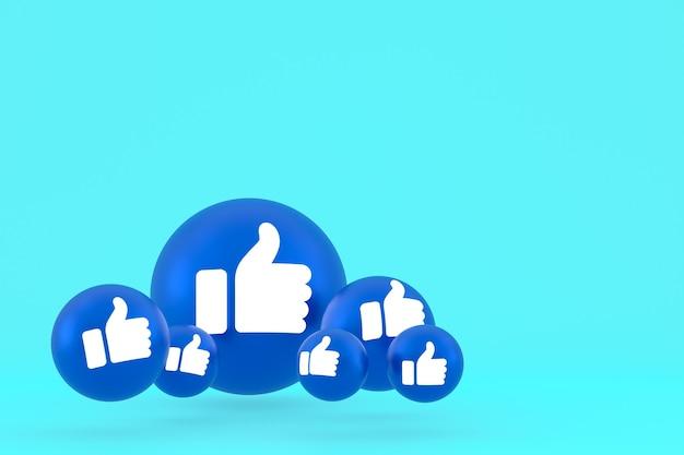 Ícone de curtir reações do facebook emoji 3d render, símbolo de balão de mídia social em azul
