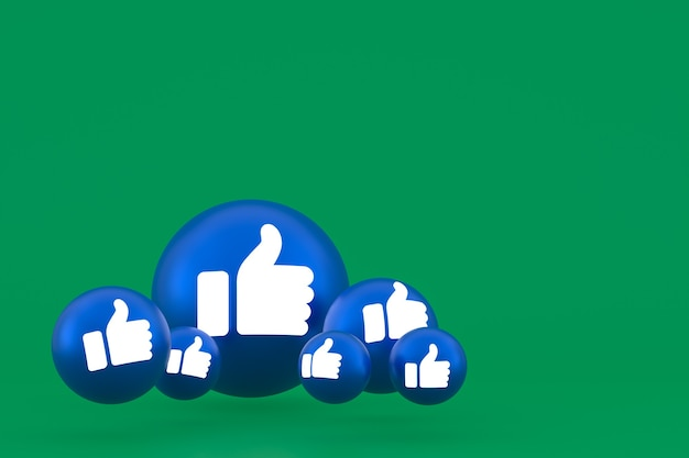 Ícone de curtir reações do facebook emoji 3d render, símbolo de balão de mídia social em verde