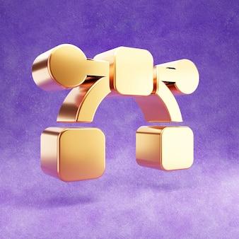 Ícone de curva de bézier isolado em veludo violeta