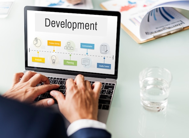 Ícone de desenvolvimento de desempenho do processo de operação