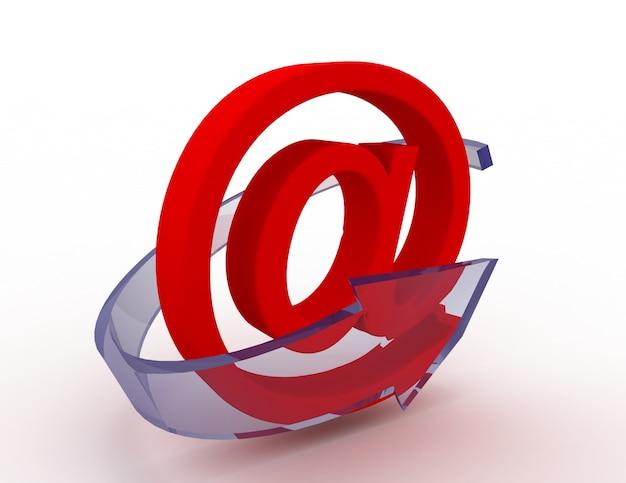 Ícone de e-mail 3d com seta azul