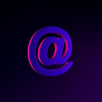Ícone de e-mail de néon, arroba. elemento de interface ui ux de renderização 3d. símbolo escuro e brilhante.