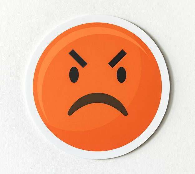 Ícone de emoticon emoji de cara zangada