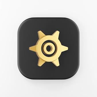 Ícone de engrenagem de ouro no estilo cartoon. chave do botão quadrado preto de renderização 3d, elemento interface ui ux.