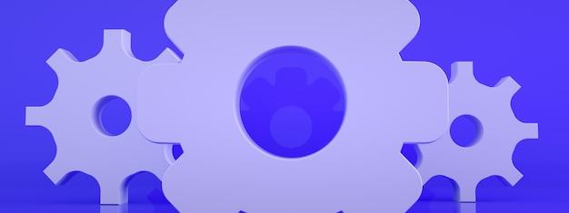 Ícone de engrenagens do close up no fundo azul, renderização em 3d, imagem panorâmica