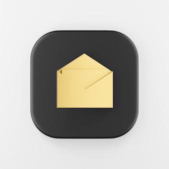 Ícone de envelope dourado. botão chave quadrado preto de renderização 3d, elemento interface ui ux.