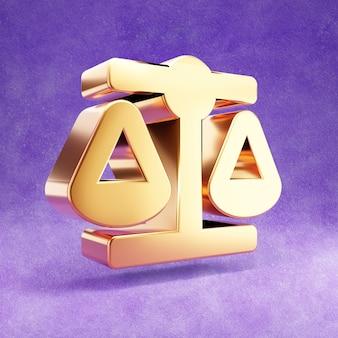 Ícone de escalas de equilíbrio isolado em veludo violeta