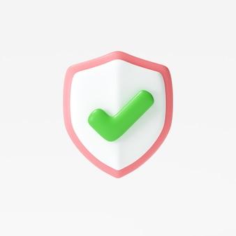 Ícone de escudo de proteção 3d marca de seleção no símbolo de escudo conceito de segurança ilustração 3d render