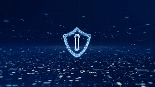 Ícone de escudo de segurança cibernética, proteção de rede de dados digitais
