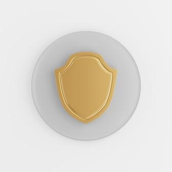Ícone de escudo dourado de contorno liso. renderização 3d botão chave cinza redondo, elemento interface ui ux.