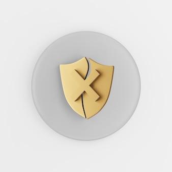 Ícone de escudo dourado quebrado. botão chave redondo cinza de renderização 3d, elemento interface ui ux.