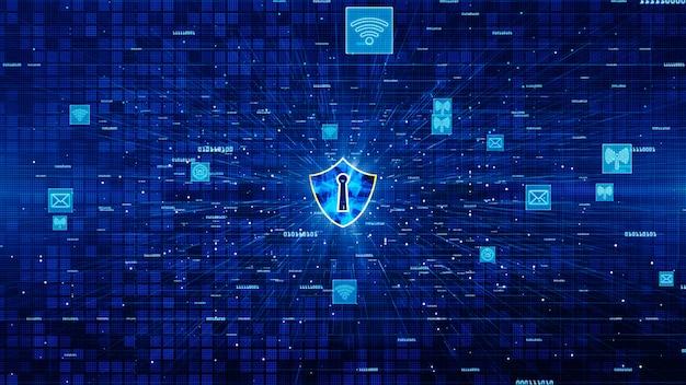 Ícone de escudo e comunicação de rede segura, conceito de segurança cibernética.