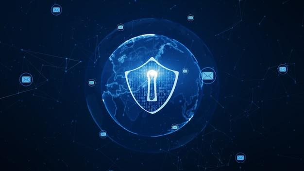 Ícone de escudo e e-mail na rede global segura