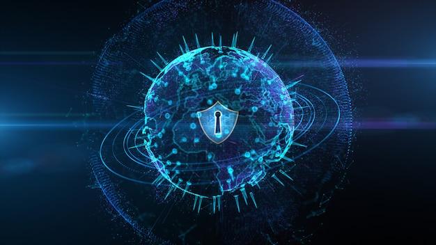 Ícone de escudo em rede global segura, segurança cibernética e proteção do conceito de dados digitais pessoais