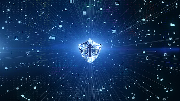 Ícone de escudo na rede global segura, segurança cibernética e proteção de rede de informações, rede de tecnologia do futuro para negócios e conceito de marketing na internet
