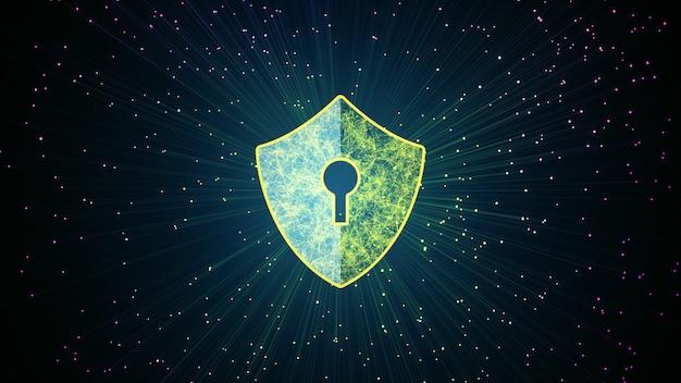 Ícone de escudo no espaço cibernético