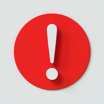 Ícone de exclamação com efeito 3d que alerta a marca de atenção isolado no fundo branco