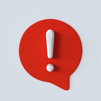 Ícone de exclamação com efeito 3d sinal de bolha de fala vermelho e branco sinal de alerta