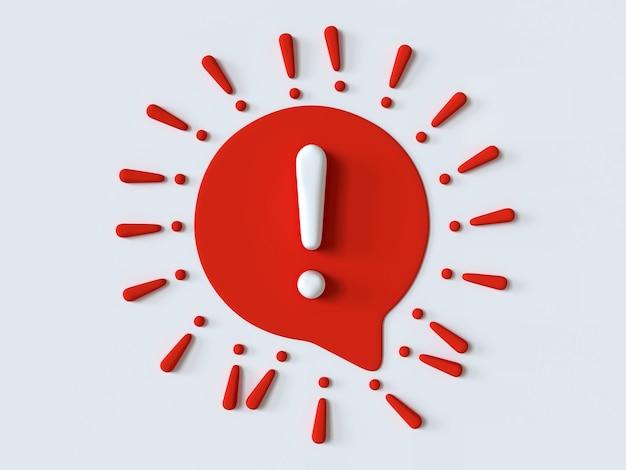 Ícone de exclamação sinal de bolha de fala vermelho e branco sinal de alerta de atenção na forma de covid19
