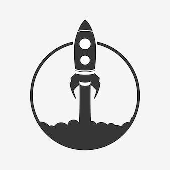 Ícone de foguete isolado no fundo branco. vetor.