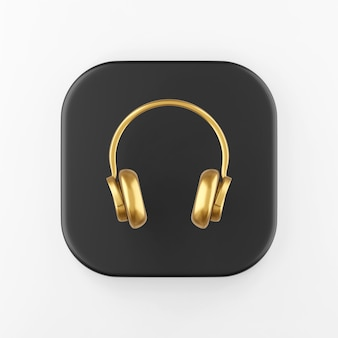 Ícone de fones de ouvido de ouro. botão chave quadrado preto de renderização 3d, elemento interface ui ux.