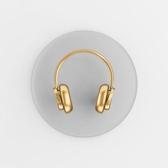 Ícone de fones de ouvido de ouro no estilo cartoon. chave de botão redondo cinza de renderização 3d, elemento interface ui ux.