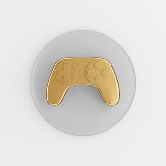 Ícone de gamepad dourado em estilo cartoon. chave de botão redondo cinza de renderização 3d, elemento interface ui ux.