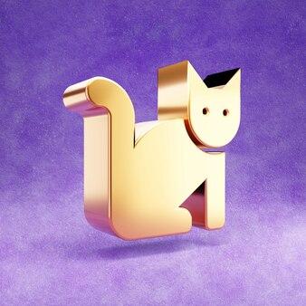 Ícone de gato isolado em veludo violeta Foto Premium