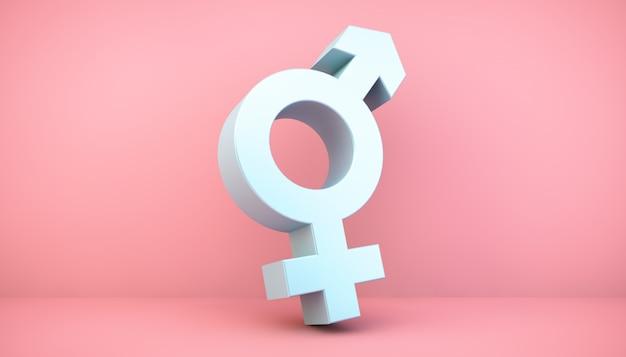 Ícone de gênero no quarto rosa, renderização em 3d