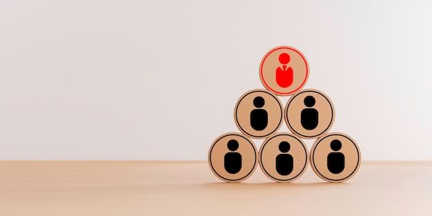 Ícone de gerente vermelho em cima do ícone de funcionário que imprime a tela no círculo de madeira na mesa para o conceito de estrutura de organização de gestão de empresa por renderização em 3d.
