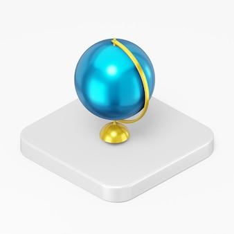 Ícone de globo 3d render na tecla do botão quadrado branco isolada no fundo branco