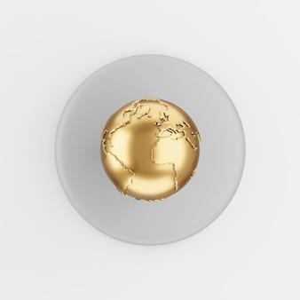 Ícone de globo dourado em estilo cartoon. chave de botão redondo cinza de renderização 3d, elemento interface ui ux.