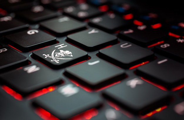 Ícone de hacker de teclado preto