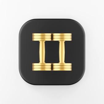 Ícone de halteres de ouro de vista superior. chave do botão quadrado preto de renderização 3d, elemento interface ui ux.