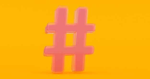 Ícone de hashtag de vidro brilhante volumétrico isolado em fundo laranja.
