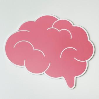 Ícone de idéias criativas cérebro rosa