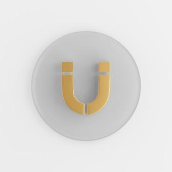 Ícone de ímã em ferradura dourada em estilo simples. chave de botão redondo cinza de renderização 3d, elemento interface ui ux.