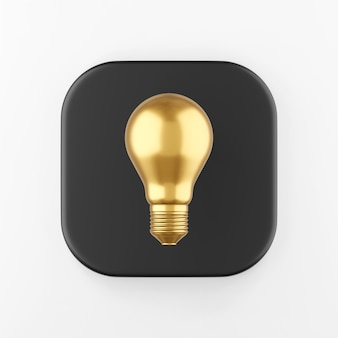 Ícone de lâmpada dourada realista. botão chave quadrado preto de renderização 3d, elemento interface ui ux.