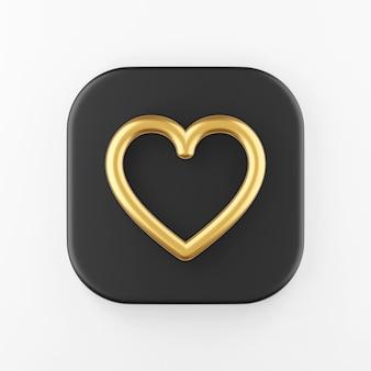 Ícone de linha de contorno de coração dourado. botão chave quadrado preto de renderização 3d, elemento interface ui ux.