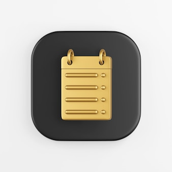 Ícone de linha reta do calendário dourado. renderização 3d do botão de chave quadrado preto, elemento interface ui ux.