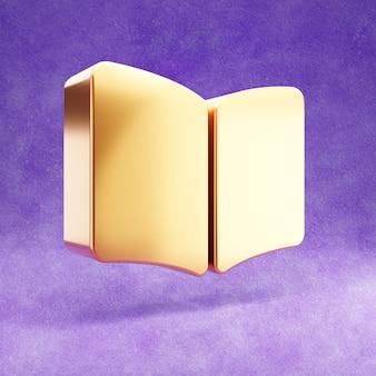 Ícone de livro aberto isolado em veludo violeta