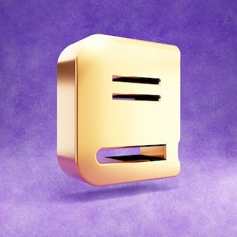 Ícone de livro isolado em veludo violeta