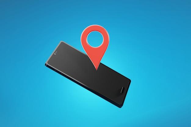 Ícone de localização de check-in com smartphone