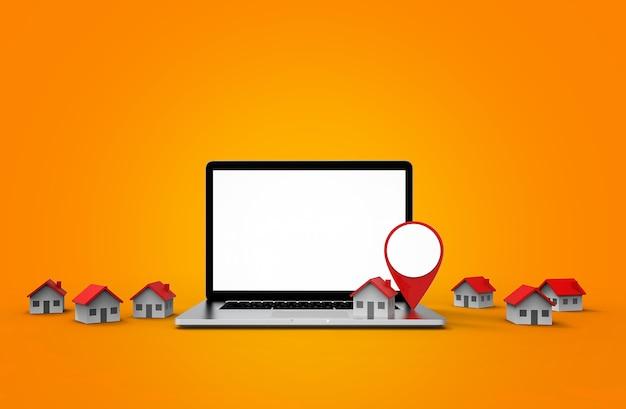 Ícone de localização e casa colocados em laptop moderno, isolado no fundo branco.