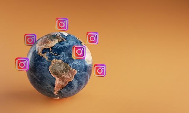 Ícone de logotipo do instagram em torno da terra. conceito de aplicativo popular.